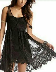Free People Black Lace Salinas Foil Dress sz 0